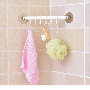 Autoadesivo 6 ganchos banheiro parede toalha titular pendurado nail-free cremalheira forte pasta de pasta forte ganchos chave ganchos de cozinha loja de cozinha bbydcs