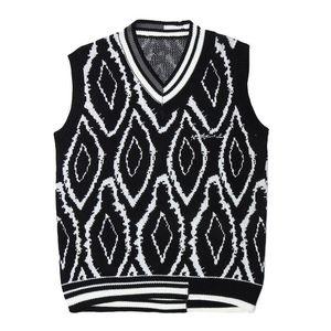 Harajuku Jumper Sweater Vest Hommes Hop Hop Streetwear Géométrie Pull tricoté Hommes Femmes Sans manches Pull-Outwear Outwear