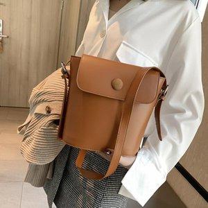 Korean Women Simple Fashionable Crossbody Shoulder Bucket Bag 2020 New Solid Color Phone Lipstick Pocket A837