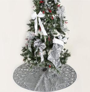 Albero di Natale Gonne di Natale albero di natale Hem Materiale in cotone Ruffle ricamato rifornimenti natalizie ornamento decorazione del partito LXL515