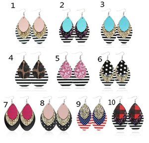 New style Multi-sequined earrings three layers of red plaid sequined earrings leopard print earrings popular leather 10pcs lot Free shipping