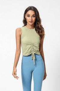 Roupas de ginástica Esportes Bras Mulheres Conforto Respirável Yoga Vest Top Com Cordilheira Sexy Drawstring Design Camisole 2021