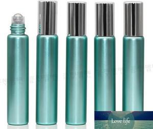 무료 배송 10ml의 1/3 오즈 UV 유리 녹색 향수 ROLL ON 유리 병 에센셜 오일 철강 금속 롤러 볼 아로마 테라피