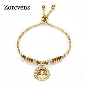 ZORCVENS ouro Vintage Cor Prata inoxidável Charm Bracelet Aço com árvore de vida pingente bola de cristal pulseira de mulher