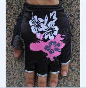 2021 Women Flower Cycling Gloves MTB Road Gloves Mountain Bike Half Finger mitten Men Fleece Bicycle Gym Fitness Non-slip Sports Gloves