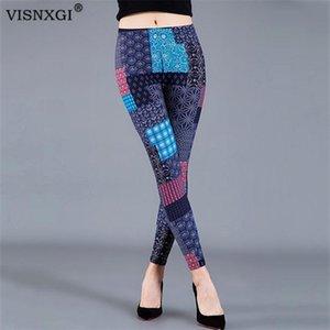 VISNXGI femmes Pantalons de sport Fitness Gym leggings taille haute Skinny Splicing Patch Motif coloré d'impression polyester cheville longueur