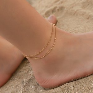20pcs Lot Double Layer Gold Snake Chain Anklets European Fashion Summer Foot Jewelry For Women Beach Beads Geometric Anklets Ornaments