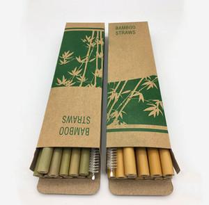 Bamboo Straws 12pcs set 19.5cm Bamboo Drinking Straw Reusable Eco Friendly Handcrafted Natural Baby Feeding Straws