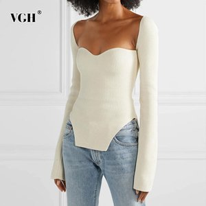 VGH White Side Split Knitted Women's Sweater Square Collar Long Sleeve Side Split Sweaters Female Fashion Clothing Fashion 201016