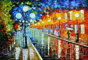 """Leonid Afremov """"Mavi Işıklar"""" Ev Dekorasyon Duvar Dekorasyonu Yağ Tuval Wall Art Canvas Resimler İçin Living Room 201.005 On Boyama"""