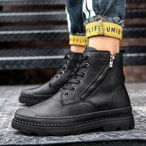 Мужчины 2021 зимние лодыжки ботинки снег натуральные кожаные туфли мужчина панк повседневная костра ботас гомбе