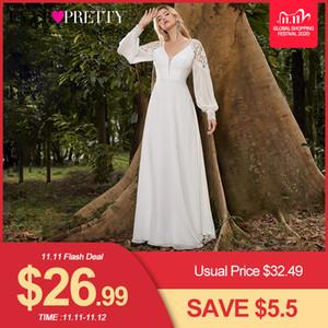 Elegant Boho Dress Lace Wedding Dresses Long Sleeve Ever Pretty A-Line V-Neck White Sexy Bridal Gowns Robe De Mariee EP00458WH Q1110