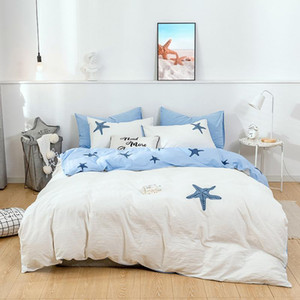 Washed Cotton Brief Style 4pcs Embroidery Cotton Duvet Cover Pillowcase Bed Sheet 4 Pieces Soft Home Bedding Set Blue Stars