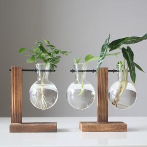 Terrarium النباتات المائية المزهريات خمر زهرة وعاء شفافة إفطار خشبي إطار زجاجي المنضدية النباتات بونساي ديكور EWB1275