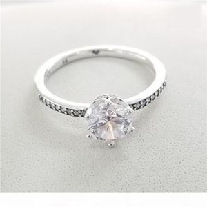 K Blue Sparkling Crown Rings Original Box For Pandora 925 Sterling Silver Cz Diamond Women Wedding Gift Ring Sets