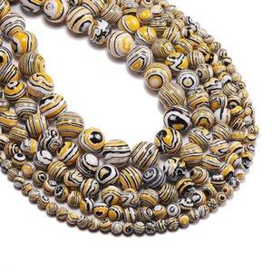 Cuentas de piedra de malaquita amarilla a rayas redondas Redondeadas Spacer Bead Strand 4 6 8 10 12 mm para la joyería que hace bricolaje H Qylwhp