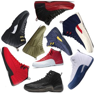 New Arrival Michigan Bulls Milan Paris 12s College Navy men basketball shoes bulls UNC Flu Game the master black white taxi Sports sneakers