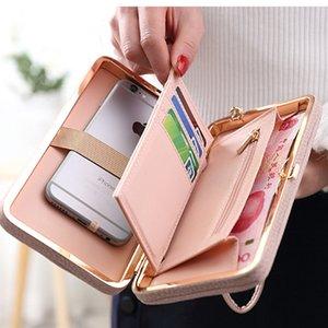 Elemento de lazo mujeres carteras con teléfono celular titular de la tarjeta de bolsillo mate cuero femenino monedero pulsera damas billetera de embrague