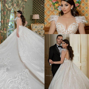 Feather Wedding Dresses Bridal Gowns Lace Country Appliqued Beads Sheer Jewel Neck cathedral train Wedding Dress Robe De Mariee