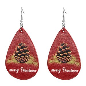 New Christmas ornaments Festive Party Favor Christmas Earrings Christmas Snowman deer Print Leather Earrings Holiday Gift Jewelry LX3615