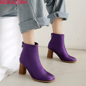 2020 new arrival autumn ankle boots for women round toe high heels boots zipper simple dress party shoes woman210