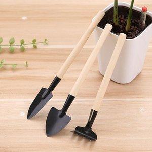 Início poda flores pequenas pás jardinagem três conjuntos de escavar ferramentas de mini-pás varas de madeira ancinhos pequena de ferro