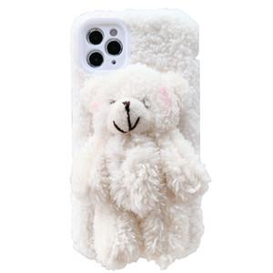 IPhone 11 caso de la manera phonecase diseñador phonecase caja del teléfono móvil 3d de lana de la muñeca del oso para IPhone 11Pro / MAX / XS