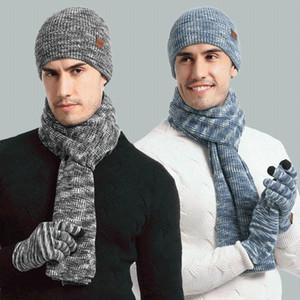 Marca Hombres Mujeres bufanda guantes del sombrero del juego Three-Piece Set invierno caliente femeninos sombreros bufandas unisex Gorros de punto Cap Skullies