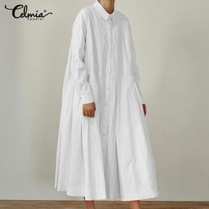 Casual Dresses Frauen Falten Hemd Kleid Celmia 2021 Herbst Knöpfe Lose Maxi Langarm Plus Größe Vestidos Sarafan Femme 7