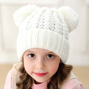 Kids Knit beanie hats children knitting crochet pompom hat Baby Winter Warm Skullies Beanie Girl Ski Cap