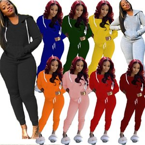 Women solid color fall winter casual clothing plain jogger suit 2 piece set hoodies pants S-2XL pullover sweatshirts outfits capris 3968