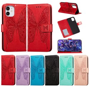 Luxury Leather Flip Full Case for iPhone 12 mini 11 Pro Max XR XS SE 2020 8 Plus X Solid Color Butterfly Embossing Bag case For iphone 12pro
