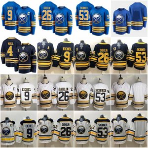 2021 Buffalo Sabers 4 Taylor Hall Jersey Hockey 9 Jack Eichel 26 Rasmus Dahlin 53 Jeff Skinner 50 홈 Royal Navy Blue White Stitched