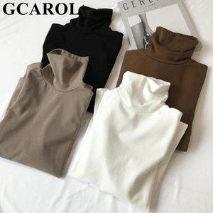 GCAROL 2020 Yeni Kadın Kazak XL A1107 fanila Tam Gömlek Stretch Çoklu Renkler Stripes Temel Tops