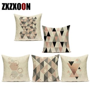 Nordic Style Pink Geometric Animal Deer Leaf Heart Shape Pattern Cotton Linen Sofa Home Cushion Cover for Living Room Decoration