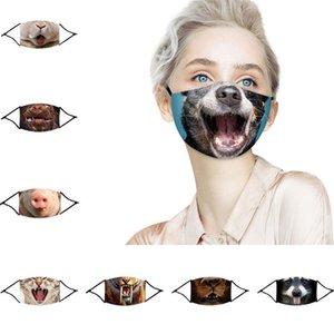 Maskeler Komik Yüz Maskesi 3D-Print Koruyucu Kulak-asılı Örtü Hayvan Yıkanabilir Yeniden kullanılabilir Ağız Yetişkin Unisex Mask300pcs T1I2610 Maske yazdır