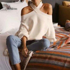 Estilo Halter sin hombro diseño suéter elástico de manga larga tops de gran tamaño de punto elegantes femeninos