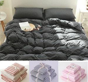 Junwell 100% Cotton Jersey Duvet Cover Set Yarn Dyed T-shirt Fabric Quilt Cover Japanese Style Simple StripeGG