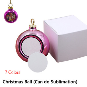 Isı Transfer Baskı Plastik Alüminyum Parti Dekoru 7 Renkler Asma için boş Sublime Noel Topu Süsleme DIY Noel Dekorasyon 4cm
