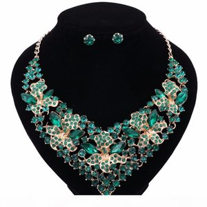 Dress Accessories Gold Plated Rhinestones Crystal African Jewelry Sets For Women Wedding Prom Bridal Earrings Necklace Set
