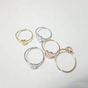 Fashion Womens Jewelry Band Anello Vendita calda Lega placcata A Z Lettere Peach Heart Circular Love Rings Regalo 0 99CR G2B
