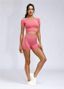 Damenmode Anzug Hosen Tanks, schnelltrocknende Short-Pack Short Sports Yoga Short Sleeve Anzug Fitness Gym Kleidung 2-teiliges Set