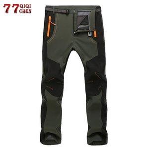 Зимние теплые грузовые брюки мужские женщины повседневные флисовые брюки снежные водонепроницаемые мягкие шнурные брюки мужские тактические рабочие брюки 5XL T200219