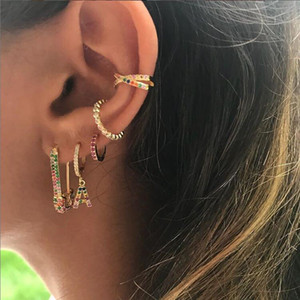 2021 Rainbow Fashion Women Earring Latest New Design Safety Pin Shape Ear Wire Gold Plated Trendy Gorgeous Women Jewelry