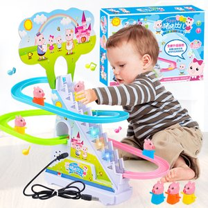 Children piggy climb stairs light music quiz baby track car toy cartoon cute animal cars for kid