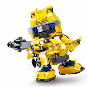 Q version building blocks assembled boy gift children's toy-Yellow car