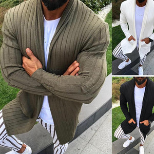 Cardigan de punto Suéter Men 2021 Otoño Casual Slim Fit Mens Mantón Cuello Swal Sweater Abriga Suéteres de rayas largas Masculino Overcoat XXXL