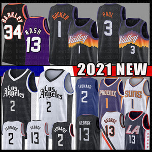 Kawhi 2 Devin 1 Booker Leonard 3 Chris Paul 13 George Basket Black Jersey Steve 13 Nash Charles 34 Barkley Mesh Los Retro Angeles maglie
