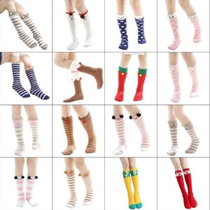 WomenWinter Warm Fluffy Fuzzy Knee High Socks Cute Cartoon Animal Embroidery Pompom Coral Velvet Plush Long Stockings LegWarmers