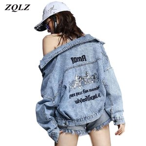 ZQLZ Autumn Jean Coat Women New Embroidery Letter Single Breasted Loose Hip Hop Spring Jacket Female Short Moto Coats 201022
